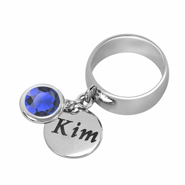 Personalized Charm and September Birthstone Ring