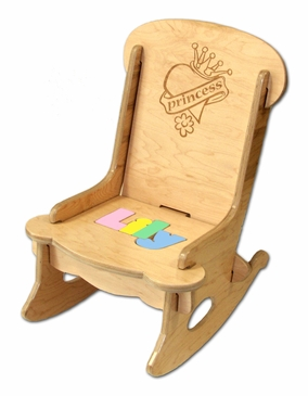 Personalized Child's First Puzzle Rocking Chair Princess