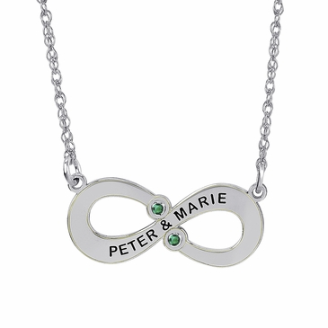 Personalized Couple's Forever Birthstone Necklace - May