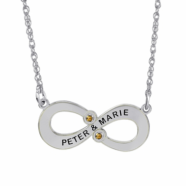 Personalized Couple's Forever Birthstone Necklace - November