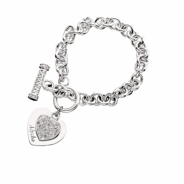 Personalized Double Heart Tag and CZ Silver Bracelet