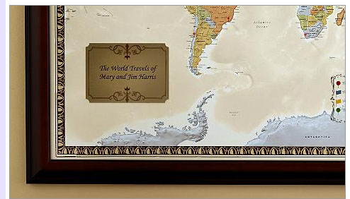 personalized framed world map bliss living
