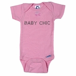 Personalized Girl Pink Onesie - With Crystal Studs