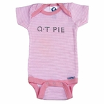 Personalized Girl Thin Striped Onesie - With Crystal Studs