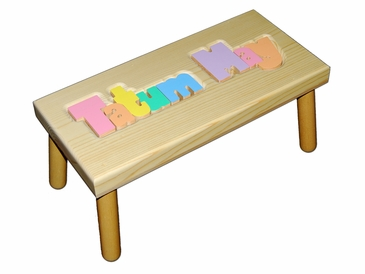 Personalized Large Wooden Puzzle Stool Pastel Colors