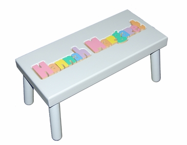 Personalized Large Wooden Puzzle Stool Pastels/White
