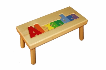 Personalized Large Wooden Puzzle Stool Primary Colors