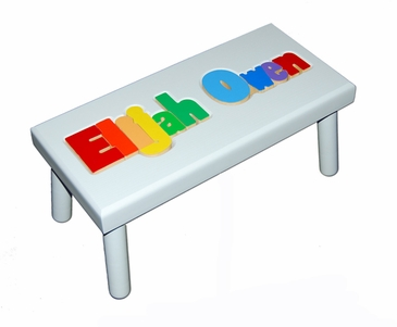 Personalized Large Wooden Puzzle Stool Primary Colors/White