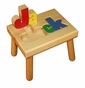 Personalized Large Wooden Puzzle Stool Primary Colors/White - click to Enlarge