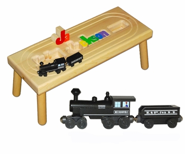 Personalized Locomotive Train Wooden Puzzle Stool