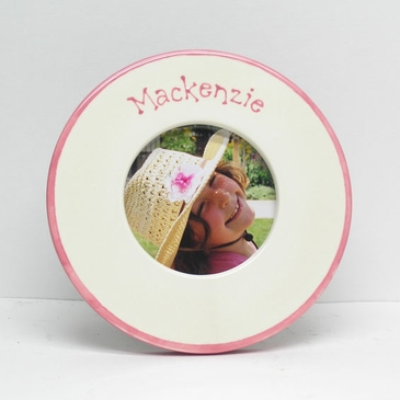 Personalized Round Baby Picture Frame with Border