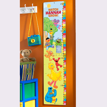 Personalized Sesame Gang Wooden Growth Chart
