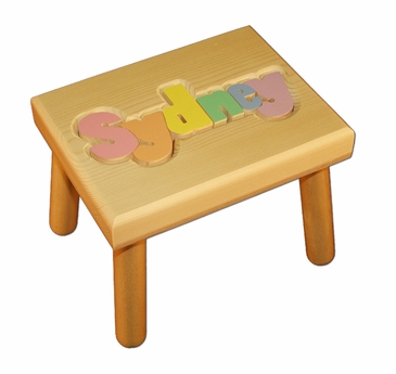 Personalized Small Wooden Puzzle Stool Pastel Colors