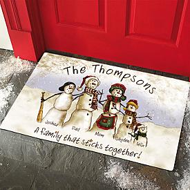 Personalized Snowman Family Doormat