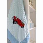 Personalized Soft Minky Dot Chenille Blue Baby Blanket with Vintage Car