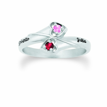 Winding Hearts Gold Birthstone Ring - with Simulated Stones