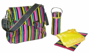 Petal Stripes - Ozz Coated Diaper Bag by Kalencom