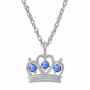 Petite Crown Birthstone Pendant Necklace - December