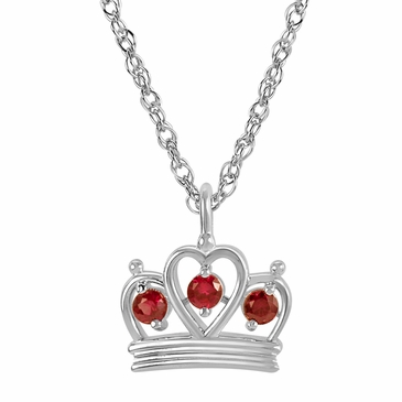 Petite Crown Birthstone Pendant Necklace - July