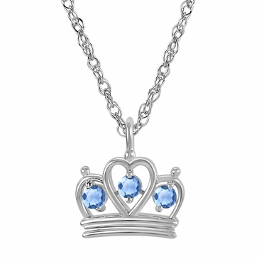 Petite Crown Birthstone Pendant Necklace - March