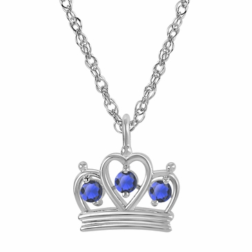 Petite Crown Birthstone Pendant Necklace - September