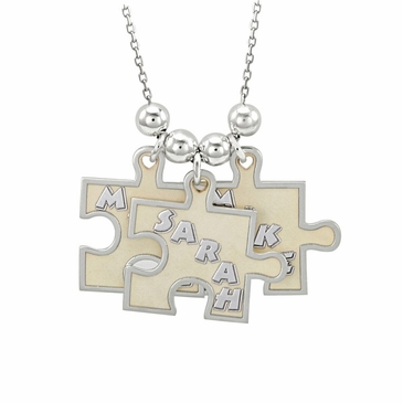 """""""Pieces of Love"""" Puzzle Style Family Necklace"""
