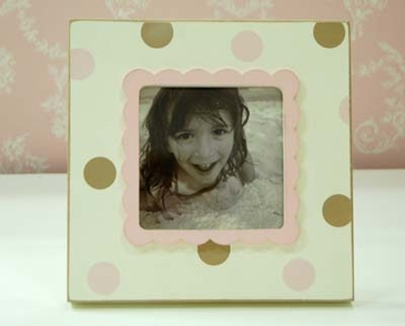 Pink & Brown Polka Dot Picture Frame