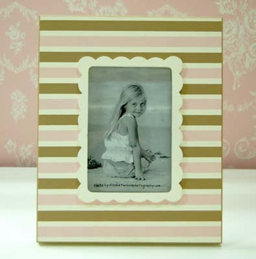 Pink & Brown Stripe Picture Frame