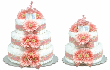 Pink Daisies - Groovy Baby Diaper Cakes