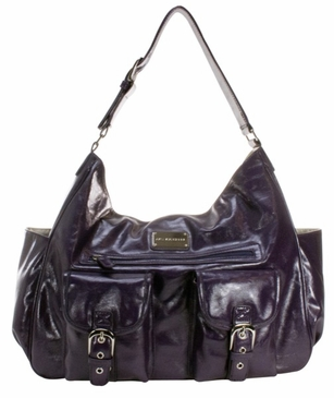 Plum Faux Patent Sweet Pea Baby Bag by Amy Michelle