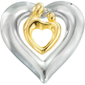 Polished Heart Mother and Child Pendant