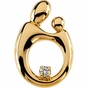Polished Mother and Child Hollow-back Diamond Pendant - click to Enlarge