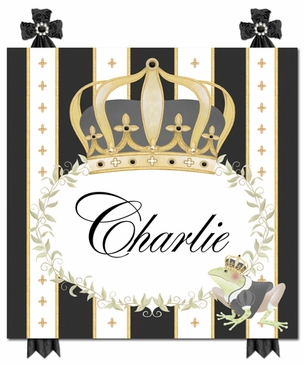 Posh Prince Crown Antico Black Name Plaque Personalized by Dish and Spoon