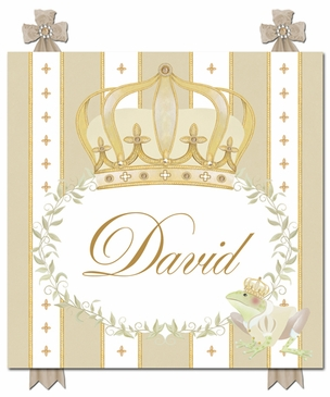 Posh Prince Crown Ivory Bisque Name Plaque Personalized by Dish and Spoon