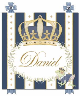 Posh Prince Crown Royal Blue Name Plaque Personalized by Dish and Spoon