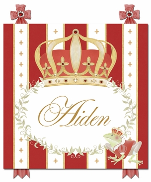 Posh Prince Crown Ruby Red Name Plaque Personalized by Dish and Spoon