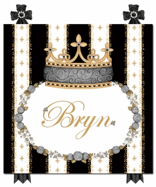 Posh Princess Crown Antico Black Name Plaque Personalized by Dish and Spoon
