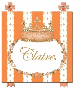 Posh Princess Crown Marigold Orange Name Plaque Personalized by Dish and Spoon