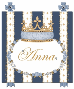 Posh Princess Crown Royal Blue Name Plaque Personalized by Dish and Spoon