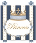 Posh Princess Crown Royal Blue Name Plaque Personalized by Dish and Spoon - click to Enlarge