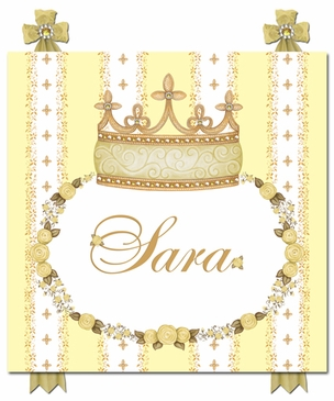 Posh Princess Crown Sunshine Yellow Name Plaque Personalized by Dish and Spoon