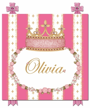 Posh Princess Crown That's Hot Pink Name Plaque Personalized by Dish and Spoon