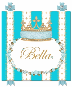 Posh Princess Crown Tiffany Blue Name Plaque Personalized by Dish and Spoon