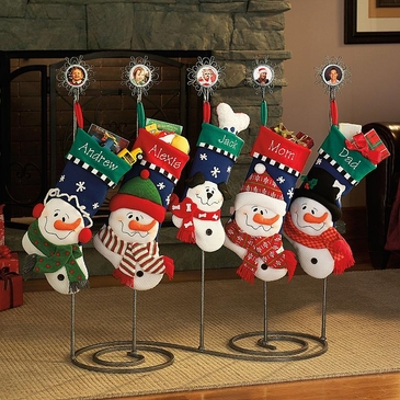 Puffy Snowfamily Stockings - Personalized