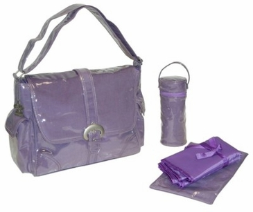 Purple Corduroy - Laminated Buckle Diaper Bag by Kalencom