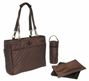Quilted Chocolate/Chocolate Stitching - N Orleans Tote Diaper Bag by Kalencom