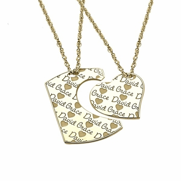 Rectangle Cutout Heart Personalized Pendant Necklace