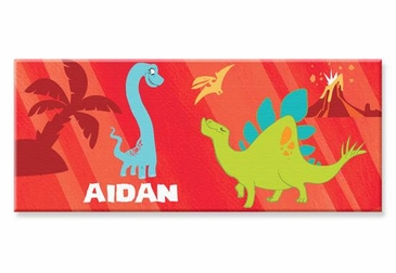 """Red Dinosaur Canvas Wall Art Personalized - 10"""" x 24"""""""