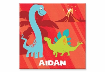 """Red Dinosaur Canvas Wall Art Personalized - 15"""" x 15"""""""
