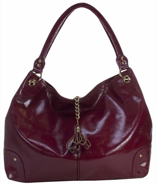 Red Faux Patent Magnolia Baby Bag by Amy Michelle